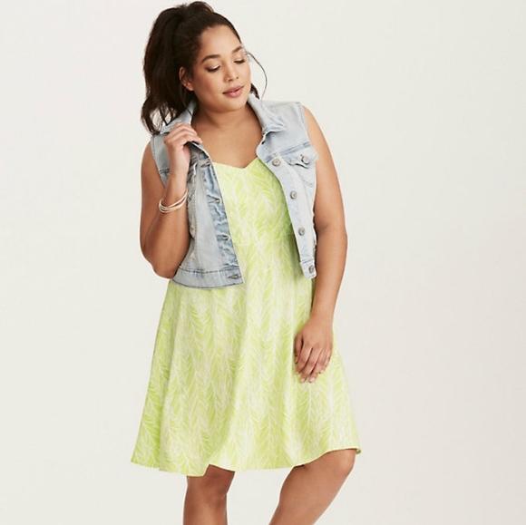 Torrid Feather Print Challis Tank Dress Neon Boho